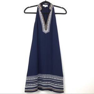THML Dresses - THML Navy Blue Embroidered Dress Sz XS Petite